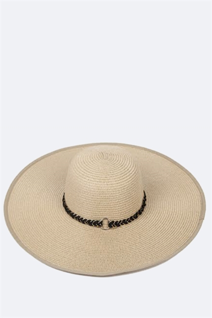 Braided Band Wide Brim Sun Hat - orangeshine.com