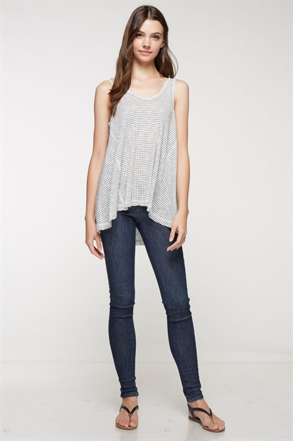 Sleeveless a-line hi-lo top - orangeshine.com
