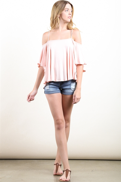Open Shoulder Crop Top - orangeshine.com