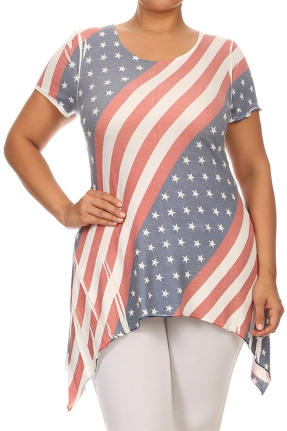 Stars and Stripes Print Tunic - orangeshine.com
