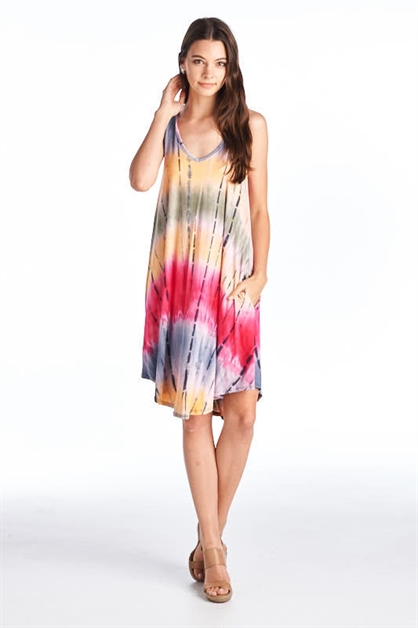 V NECK DETAIL TIE DYE DRESS - orangeshine.com