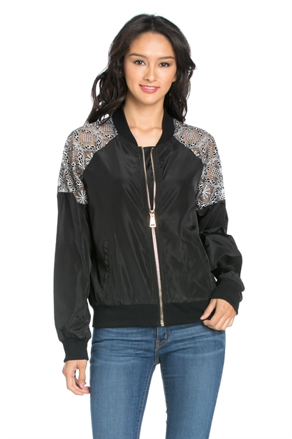 BOMBER JACKET WITH FLORAL LACE - orangeshine.com