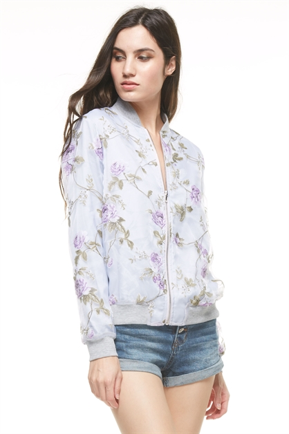 FLORAL IN AIR BOMBER - orangeshine.com