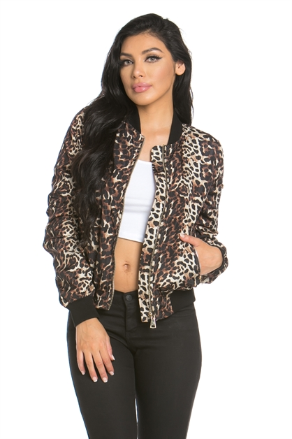 ANIMAL PRINT BOMBER JACKET - orangeshine.com