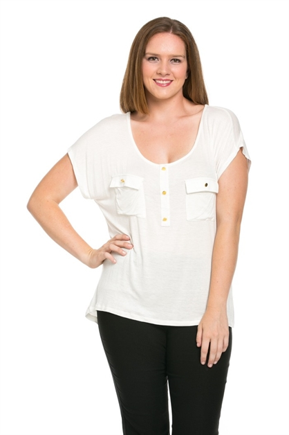 Button Pocket Top - orangeshine.com