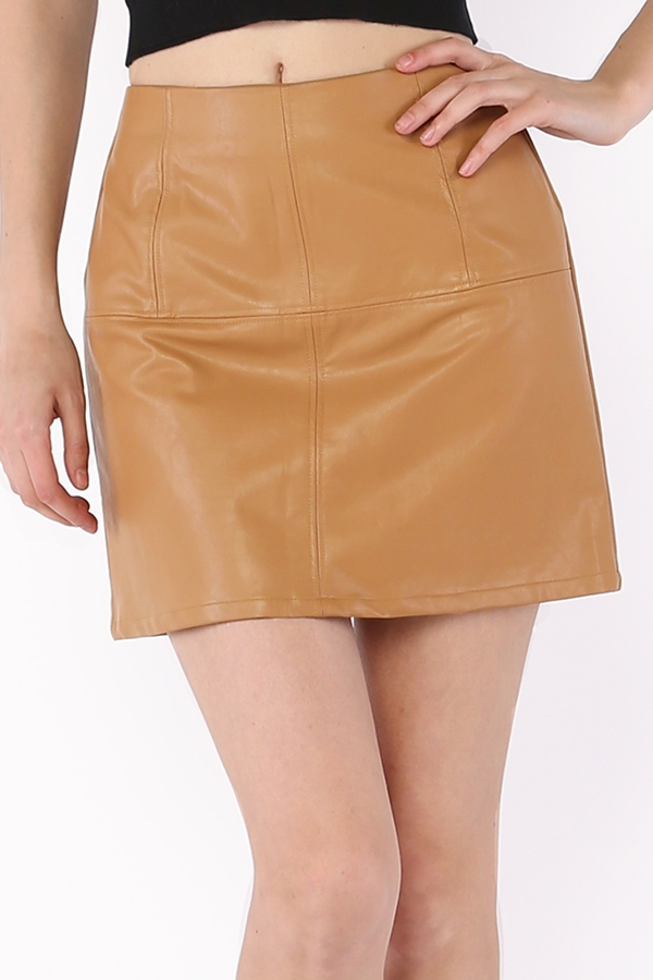 PU Textured Mini Skirt - orangeshine.com