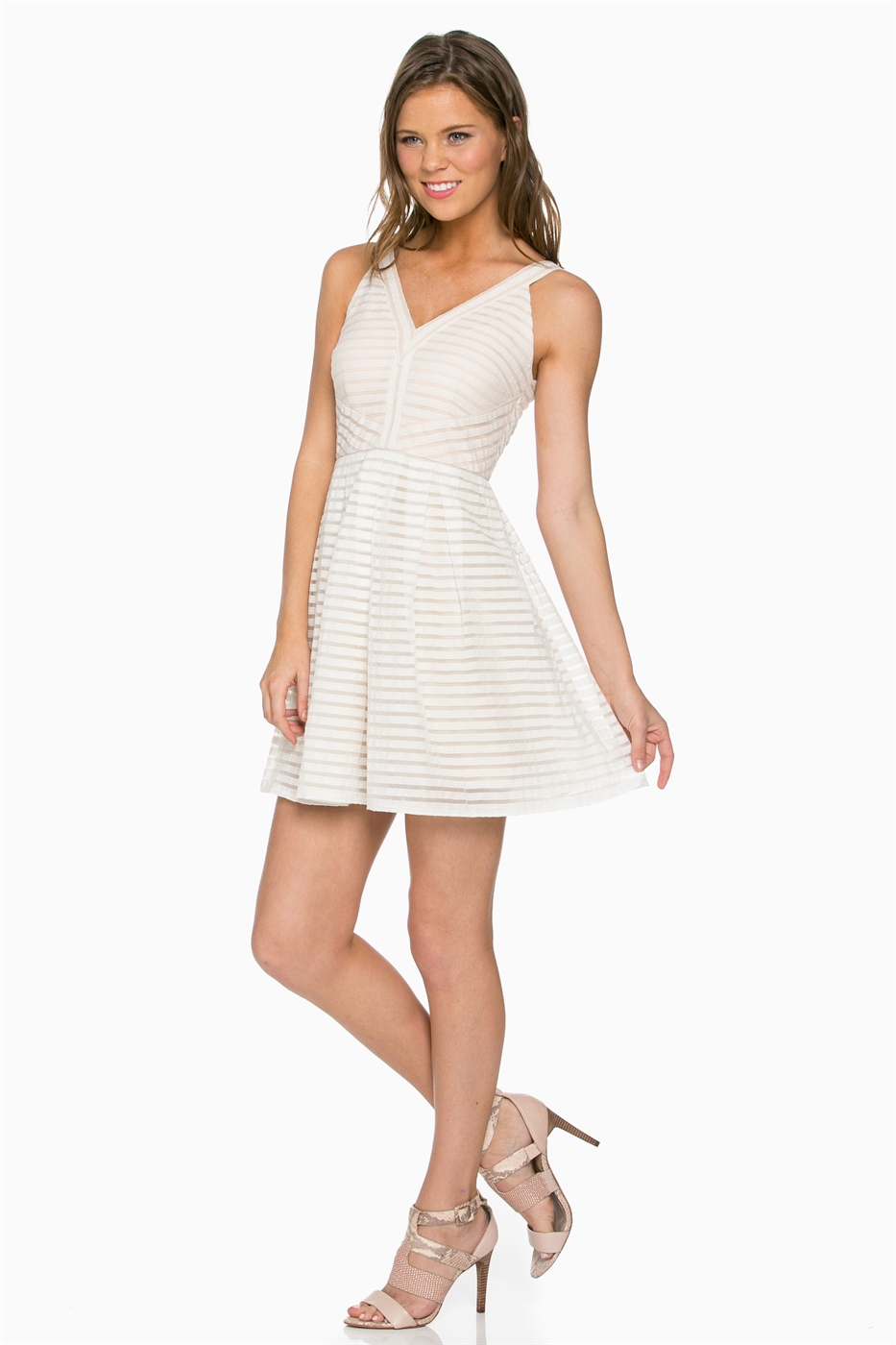 STRIPPED V NECK DRESS - orangeshine.com