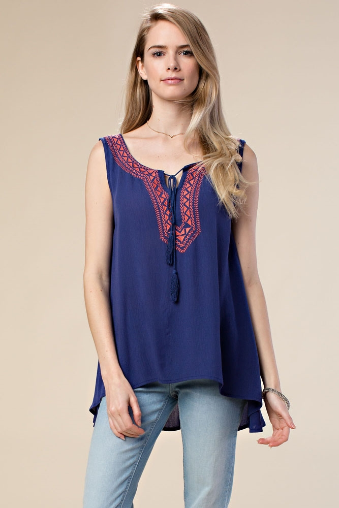 SLEEVELESS EMBROIDERED TUNIC - orangeshine.com