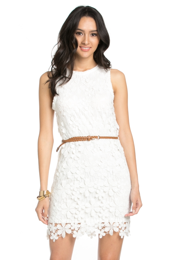 LACE BELT DRESS - orangeshine.com
