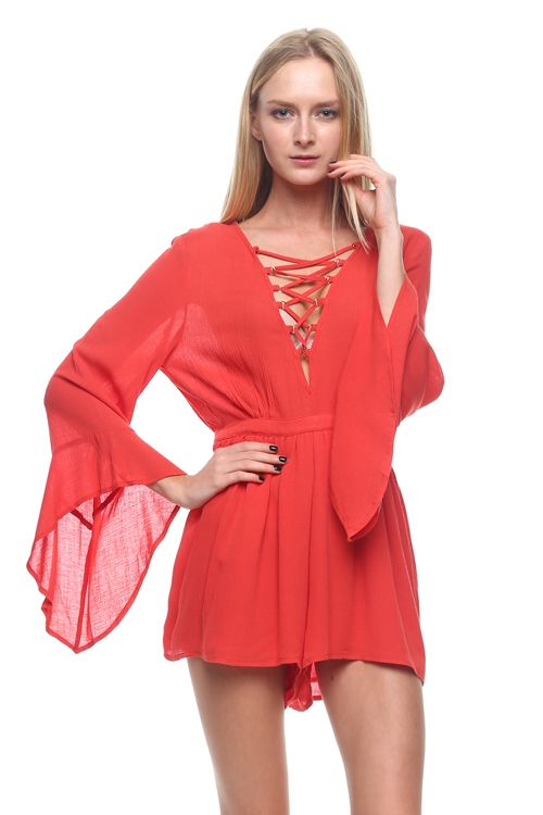 Bellsleeve lace up romper - orangeshine.com