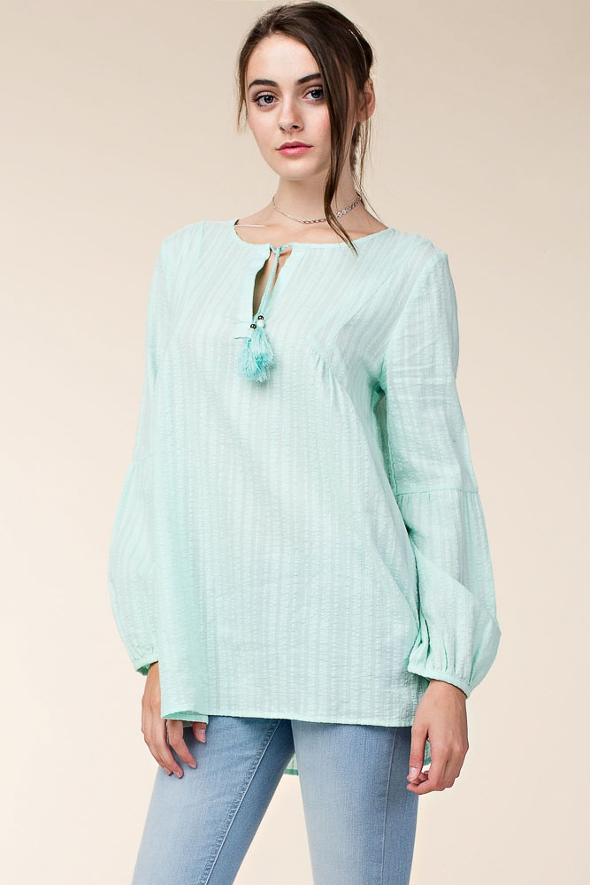 PEASANT TOP WITH TASSEL TRIM - orangeshine.com