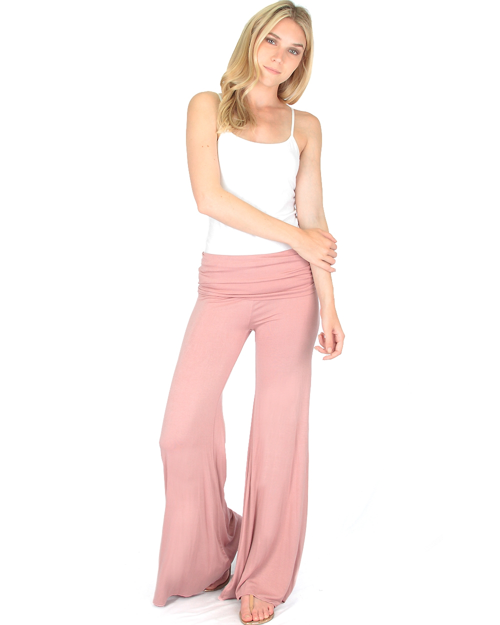 Fold-Over Palazzo Flare Pants - orangeshine.com