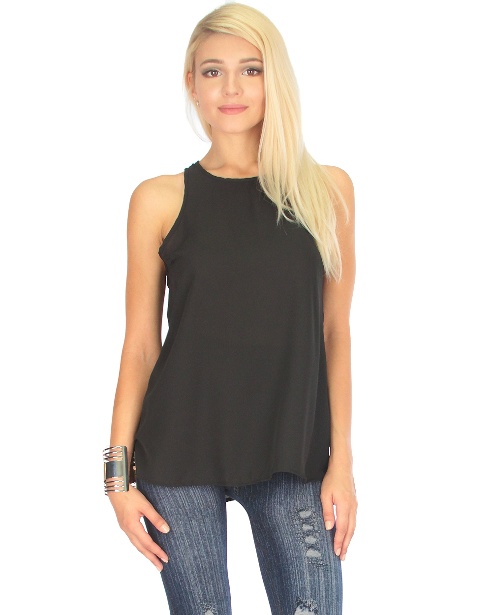 SHEER LOOSE FITTING TANK TOP - orangeshine.com