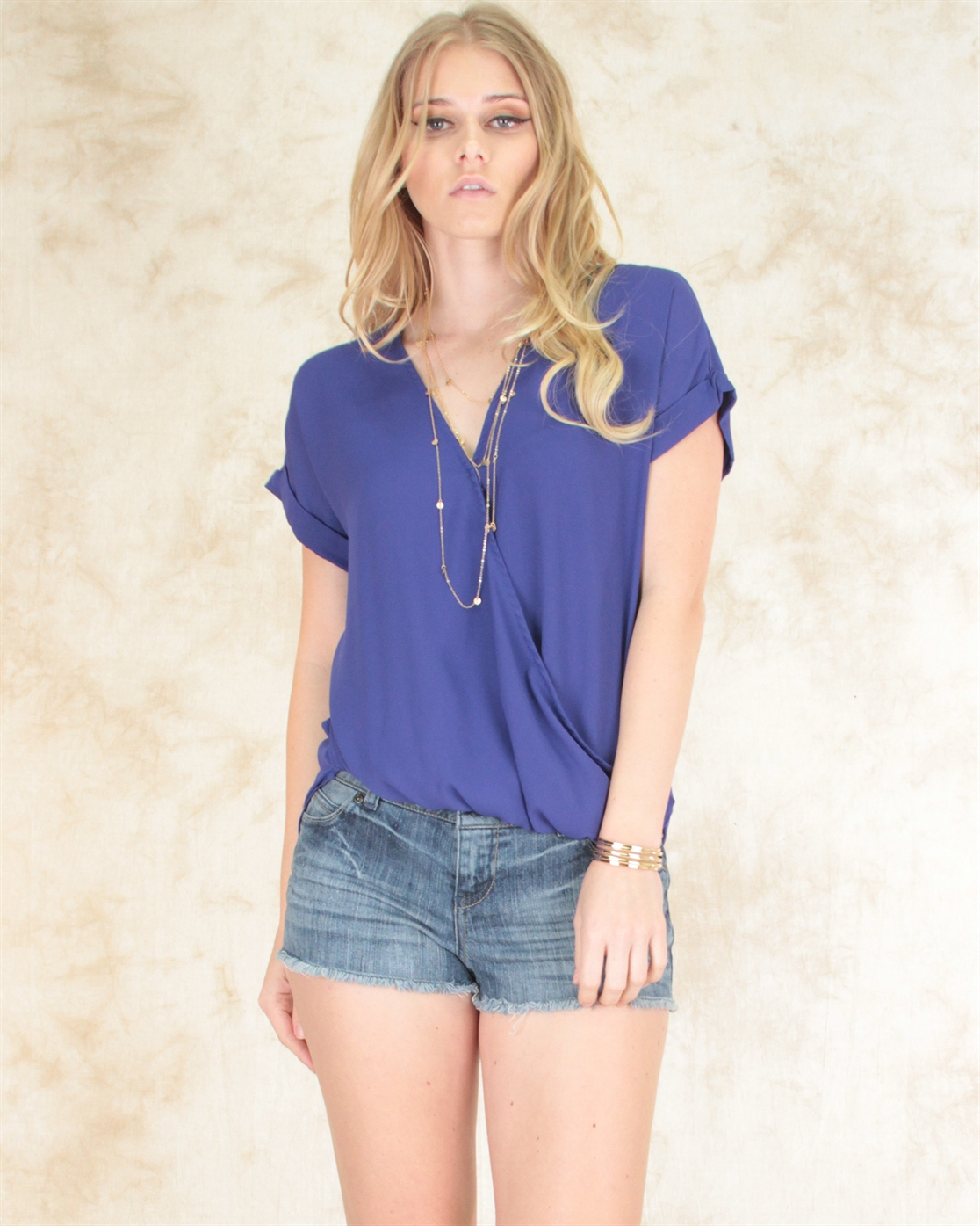 HI-LOW FRONT DRAPPE BLOUSE  - orangeshine.com