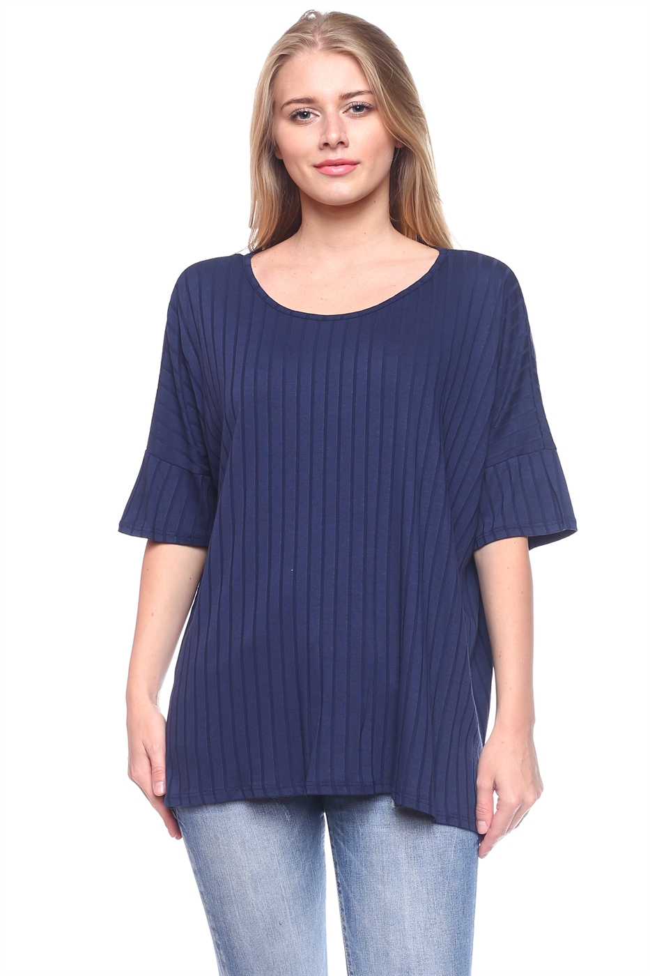 Boat Neck Striped Knit Blouse - orangeshine.com