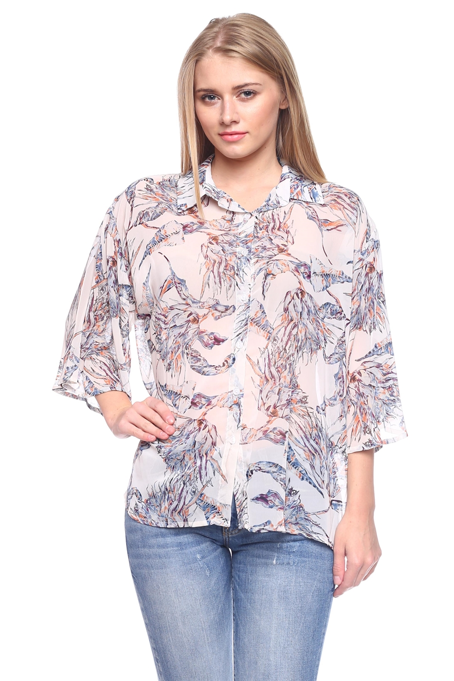 Sheer 3/4 Buttons Down Blouse - orangeshine.com
