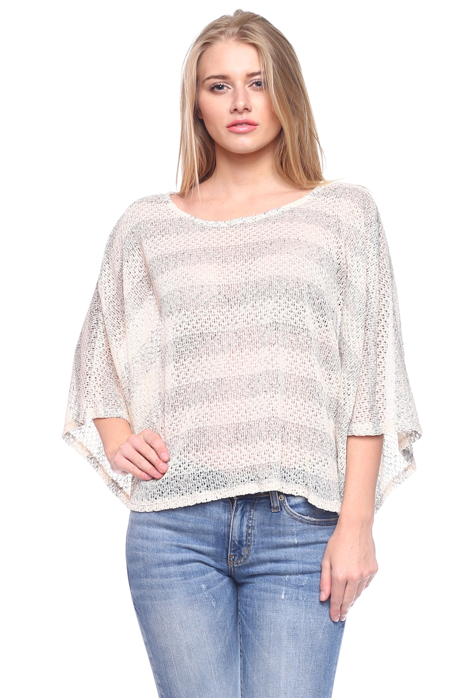Sheer Dolman Knit Blouse Tops - orangeshine.com