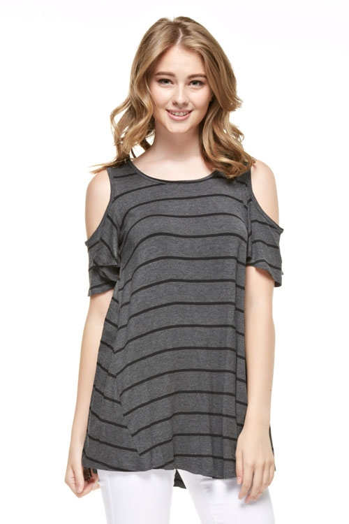 COLD SHOULDER STRIPED TUNIC - orangeshine.com