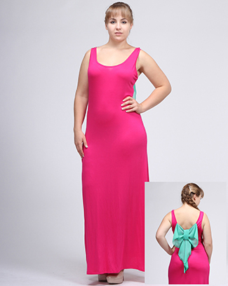 MAXI DRESS WITH RIBBON BACK - orangeshine.com