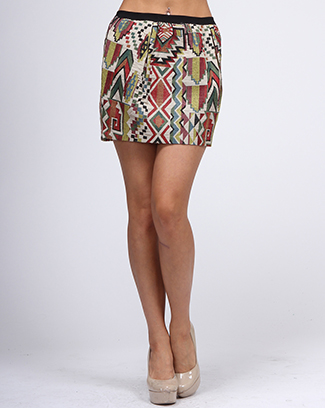 ETHNIC SKIRT WITH ELASTIC BAND - orangeshine.com