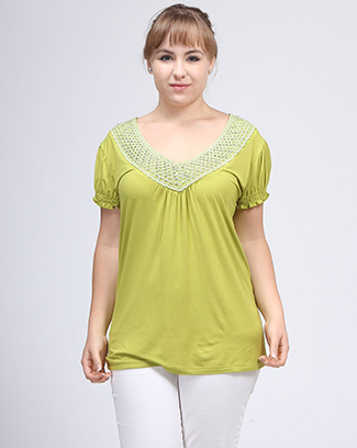 V-NECK SOLID TOP W/APPLIQUE - orangeshine.com