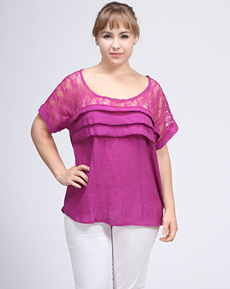 PLEATED LACE TOP - orangeshine.com