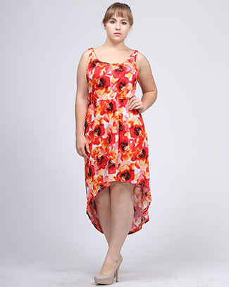 FLOWER PRINT HI LOW DRESS - orangeshine.com