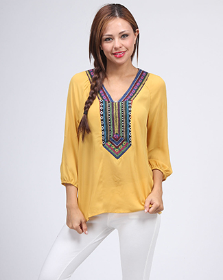 LONG SLEEVE ETHNIC BLOUSE - orangeshine.com
