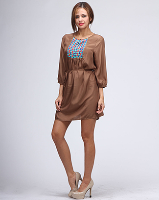 DRESS WITH WEAVE ON CHEST - orangeshine.com