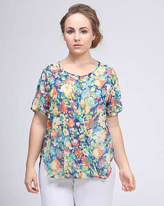 DRAPED FLORAL PRINT TOP - orangeshine.com