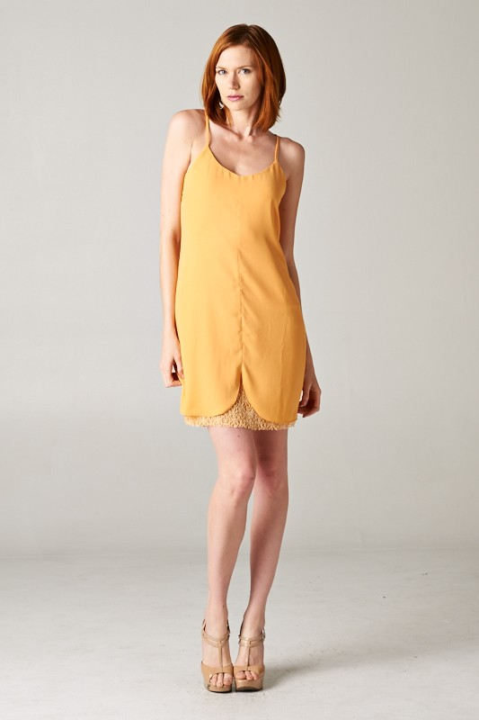 lace trim mixed strap Dress - orangeshine.com