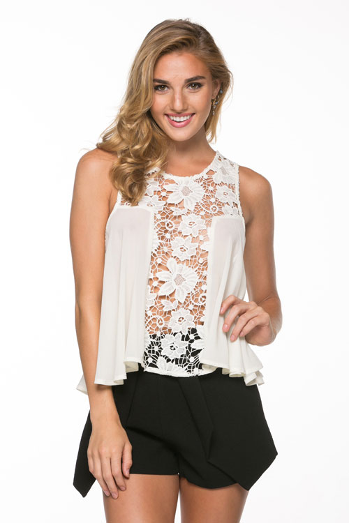 Lace Mesh-Trimmed Top - orangeshine.com