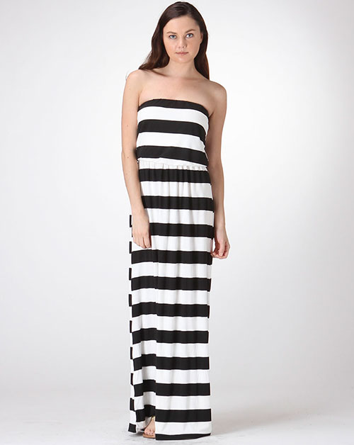 WIDE STRIPE MAXI TUBE DRESS - orangeshine.com