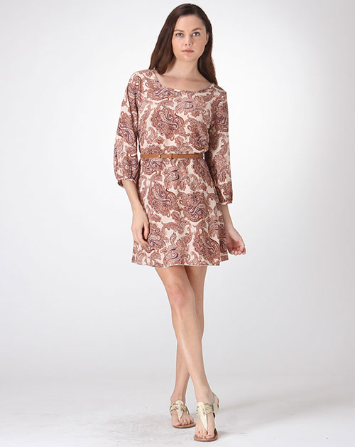 PRINT 3/4 SLEEVE DRESS W/ BELT - orangeshine.com