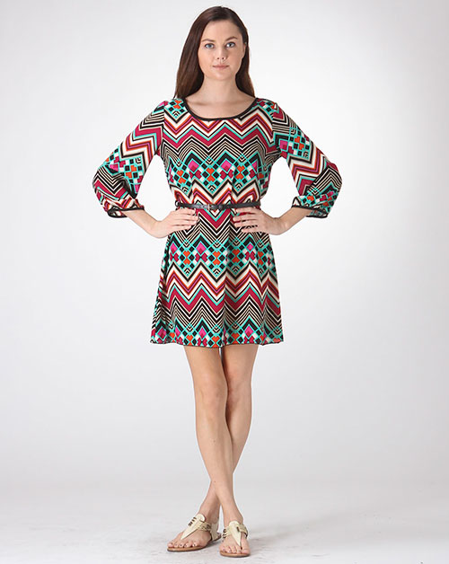 CHEVRON 3/4 SLEEVE DRESS W/ BELT - orangeshine.com