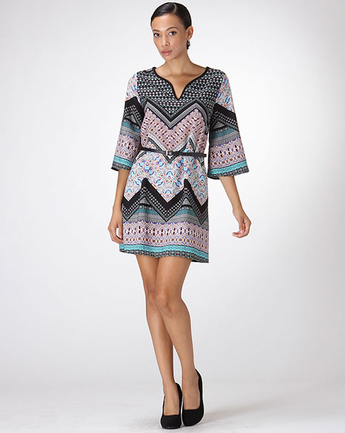 PRINT 3/4 SLEEVE TUNIC W/ BELT - orangeshine.com