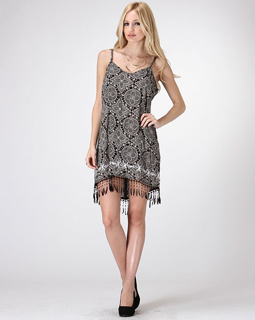 SPAGHETTI STRAP FRINGE TRIM DRESS - orangeshine.com