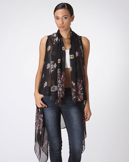 NOVEU BORDER PRINTED SHRUG - orangeshine.com