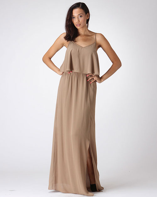 SPAGHETTI STRAP SOLID MAXI DRESS - orangeshine.com