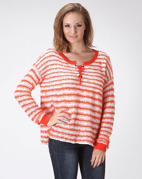 LONG SLEEVE STRIPED SWEATER - orangeshine.com