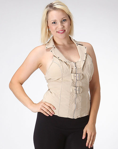HALTER TOP WITH ZIPPER & BELT - orangeshine.com