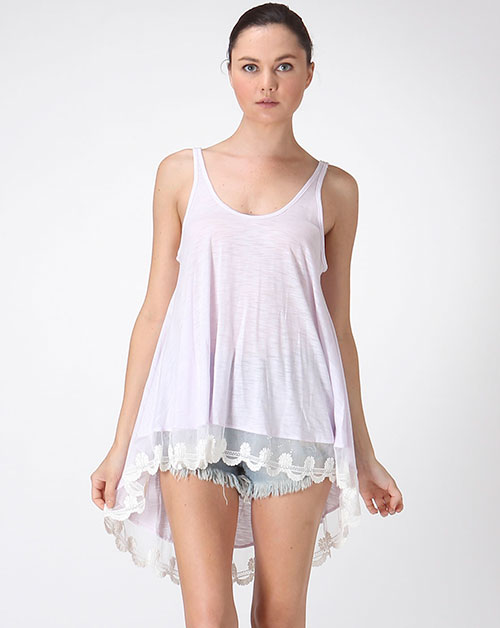 SLEEVELESS CUTE LACE TRIM TOP - orangeshine.com