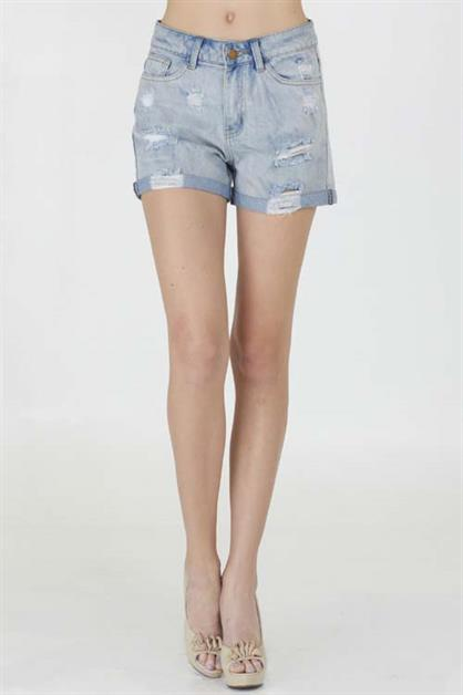 Cuffed & Distress Denim Shorts - orangeshine.com