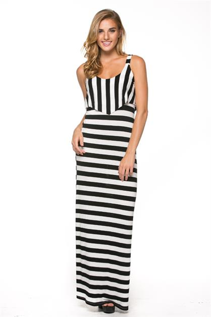 Stripe Flounced Maxi Dress - orangeshine.com