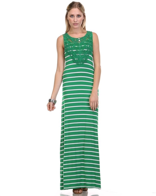 STRIPED MAXI DRESS WITH LACE - orangeshine.com
