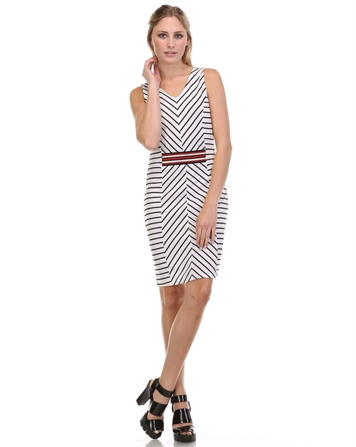 STRIPED SLEEVELESS DRESS - orangeshine.com