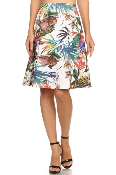 tropical A Line Skirt - orangeshine.com
