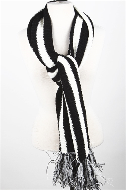 TWO TONE STRIPED FRINGE SCARF - orangeshine.com