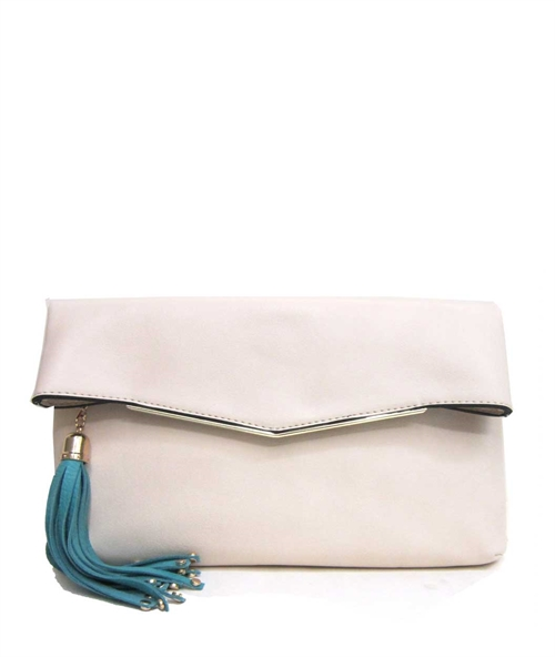 Fold Over Tassel Clutch - orangeshine.com