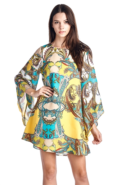 Paisley Print BellSleeve Dress - orangeshine.com